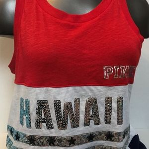 VS PINK Hawaii Bling Sequins Muscle Tank Top